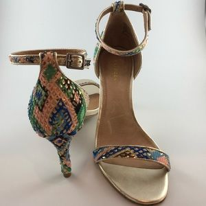 Halogen Multi Tone Ankle Strap Heels Size 8